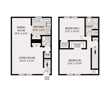 2 Bedroom Townhome 1.5 Bathroom. 835 sq. ft.