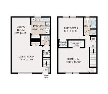 2 Bedroom Townhome 1.5 Bathroom. 835 sq. ft.